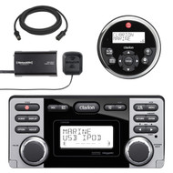 Clarion Marine Audio CD USB MP3 Watertight Stereo Receiver, SiriusXM Satellite Radio Vehicle Tuner Kit, Clarion 2-Line LCD Marine Audio Wired Remote Control, 25' Remote Extension Cable