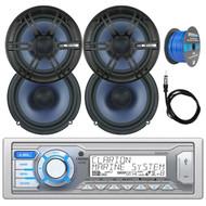 "Clarion Single DIN Marine Digital Media USB/MP3/WMA AM/FM Receiver , 4x Enrock Audio 6.5"" 2- Way Marine Coaxial Car Boat Audio Stereo Speakers, Enrock 50Ft 16-Gauge Tinned Speaker Wire, AM/FM Antenna"