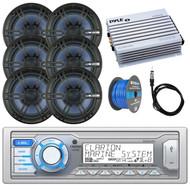 "Clarion Single DIN Marine Digital Media USB/MP3/WMA AM/FM Receiver , 6x Enrock Audio 6.5"" 2- Way Marine Coaxial Boat Audio Stereo Speakers,  Pyle 4 Channel 400 Watt Amplifier, Speaker Wire, Antenna"