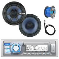 "Clarion Single DIN Marine Digital Media USB/MP3/WMA AM/FM Receiver , 2x Enrock Audio 6.5"" 2- Way Marine Coaxial Car Boat Audio Stereo Speakers, Enrock 50Ft 16-Gauge Tinned Speaker Wire, AM/FM Antenna"