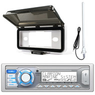 Clarion Single DIN Marine Digital Media USB/MP3/WMA AM/FM Receiver , Enrock Weatherproof Audio Dash Kit Protector Radio Stereo Receivers, Enrock Rubber Mast Boat Yacht AM/FM Radio White Antenna