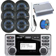 """Clarion Marine Audio CD USB MP3 Watertight Stereo Receiver, 6x Enrock Audio 6.5"""" 2- Way Marine Coaxial Boat Audio Stereo Speakers, Pyle 4 Channel 400 Watt Amplifier, Speaker Wire, AM/FM Antenna"""
