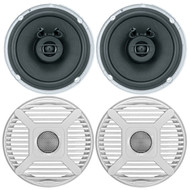 "2 x Jensen Marine MS650 6.5"" Waterpoof Coaxial Speakers - 2 x 6.5"" Removable Marine Audio Grilles for Speakers (White)"