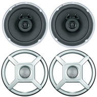 "2 x Jensen Marine MS650 6.5"" Waterpoof Coaxial Speakers - 2 x 6.5"" Removable Marine Audio Grilles for Speakers (Silver)"