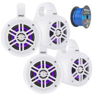 """4"""" Waterproof Marine Wakeboard 300 Watt LED Tower Speakers - White - 2 Pairs, Enrock Marine Grade Spool of 50 Foot 16-Gauge Tinned Speaker Wire"""