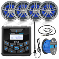 "BOSS Audio In-Dash Marine Gauge Mount Bluetooth Digital Media MP3 AM/FM USB Weatherproof Receiver, 4x 2-Way 6.5"" Water-Resistant Speakers (Charcoal), Auxiliary Interface Mount, Antenna, Speaker Wire"