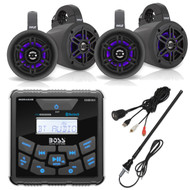 "BOSS Audio In-Dash Marine Gauge Mount Bluetooth Digital Media MP3 AM/FM USB Receiver, 4"" Waterproof Wakeboard LED Tower Speakers (Black) - 2 Pairs, USB 3.5MM Auxiliary Interface Mount, AM/FM Antenna"