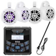 """BOSS Audio In-Dash Marine Gauge Mount Bluetooth Digital Media MP3 AM/FM USB Weatherproof Receiver, 4"""" Wakeboard 300 Watt Tower Speakers, 4""""  Wakeboard LED Tower Speakers, Antenna"""