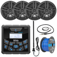 "BOSS Audio In-Dash Marine Gauge Mount Bluetooth Digital Media MP3 AM/FM USB Weatherproof Receiver, 4x 2-Way 6.5"" Water-Resistant Speakers (Black), Auxiliary Interface Mount, Antenna, Speaker Wire"