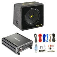 Kicker VCompS 12 inch compS Series Angled Vented Loaded SubWoofer Enclosure, Kicker 600 Watt MONO Class D Power Car Audio Amplifier Amp CXA300.1, 8 Gauge Complete Amplifier Wiring Installation Kit