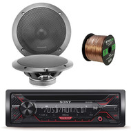 Sony CDX 55W AM FM CD MP3 Receiver with Enhanced Smartphone Connectivity, 2x Lightning Audio by Rockford Fosgate 6.5-Inch 4 Ohm Component Speakers, 16-Gauge 50 Foot Speaker Wire