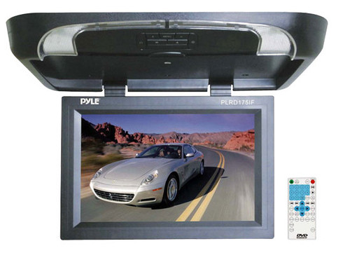 Pyle PLRD175IF 17'' Flip Down Monitor w/ Built in DVD/ SD/ USB Player with FM and IR
