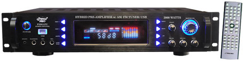 Pyle P3201ATU 3000 Watts Hybrid Pre Amplifier w/ AM FM Tuner/ USB