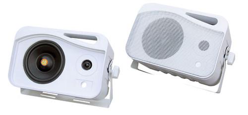 Pair Pyle PLMR25 White 4'' 300W 3-Way WeatherProof Mini Box Speaker System
