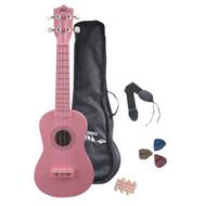 Pyle PGAKT10PK Soprano Ukulele Mini Guitar Starter Package All Ages - Pink