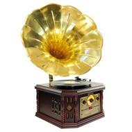 PylePro PVNP4CD Vintage Phonograph Horn Turntable CD Cassette AM FM Aux USB-to-PC Rec