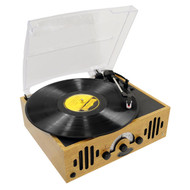 Pyle PVNTTR22 Retro Belt-Drive Turntable With Three Speeds and AM FM Radio