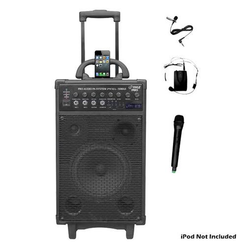 Pyle PWMA1090UI 800W Wireless Portable PA System iPod Dock USB/SD/FM &2 Mics