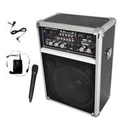 Pyle 400W Wireless PA System W/USB SD MP3 FM Radio 1 Lavalier 1 Handheld Mic
