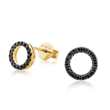 Black Diamond Eclipse Yellow Gold Earrings