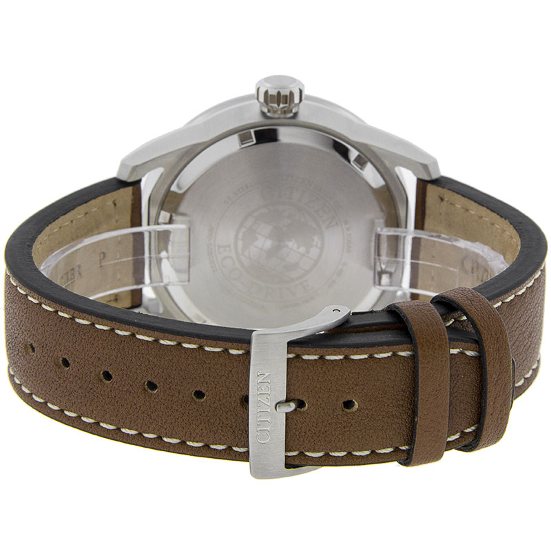Đồng hồ Citizen Eco-Drive Stainless Steel Watch with Brown Leather Strap - AW1361-10H