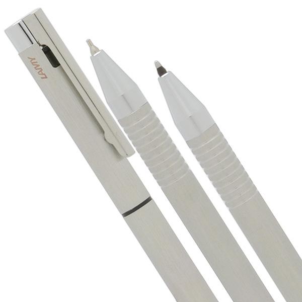Bút bi Lamy Twin (2 loại ngòi) - Màu thép xước (Brushed) - L606