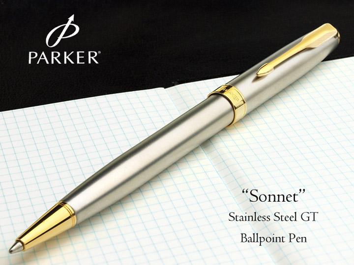 Bút Parker Sonnet Stainless Steel Ballpoint Pen with Gold Trim