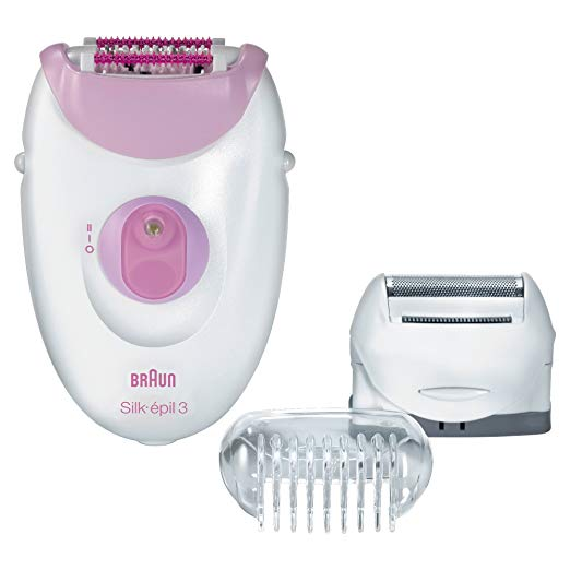 Braun Silk-épil 3-3270 Women's Epilator, Electric Hair Removal, with Shaver Head, Trimmer Cap, & Massage Roller Cap