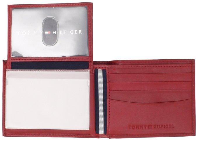 Ví nam Tommy Hilfiger Men's Leather Dore Passcase Billfold Wallet, Red