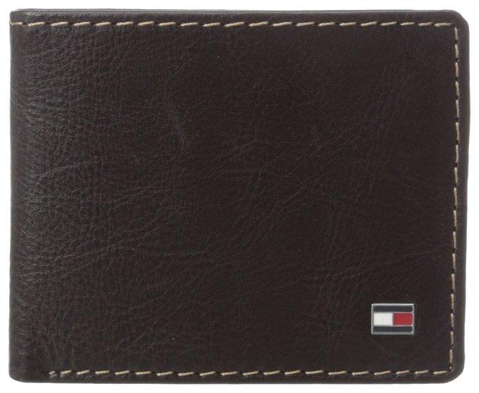 Ví nam Tommy Hilfiger Men's Leather Logan Double Billfold Wallet - Màu nâu