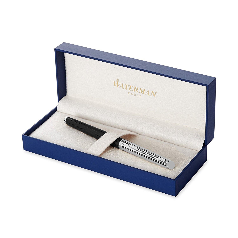 hộp Bút Waterman Hemisphere Deluxe Chrome Trim Fountain Pen, Gift Boxed Metal and Black