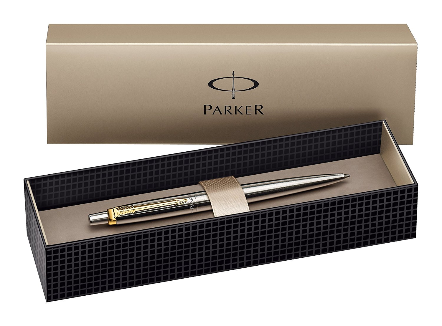 Bút bi Parker Jotter Ballpoint Pen, Stainless Steel with Gold-Plated Trim - Ngòi M - Mực xanh - S0705510