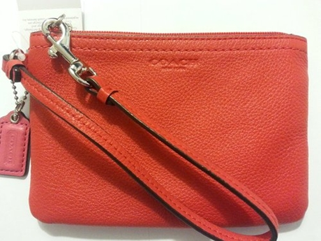 Ví Coach Park Leather Small Wristlet Vermillion F51763 SV/VR