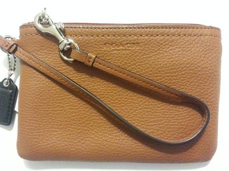Ví Coach Park Leather Small Wristlet Saddle F51763 SV/SD