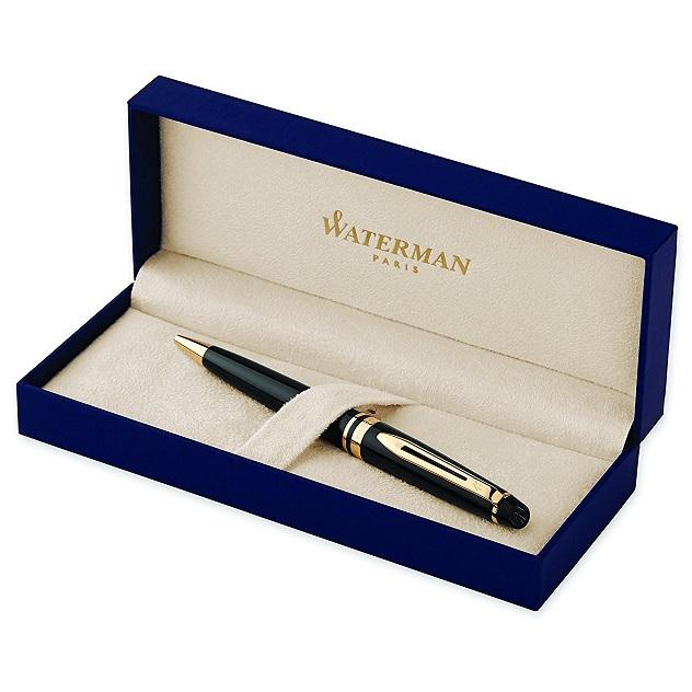 Hộp Bút bi Waterman Expert Ballpoint Pen Black Gold - Ngòi M - Mực xanh - S0951700