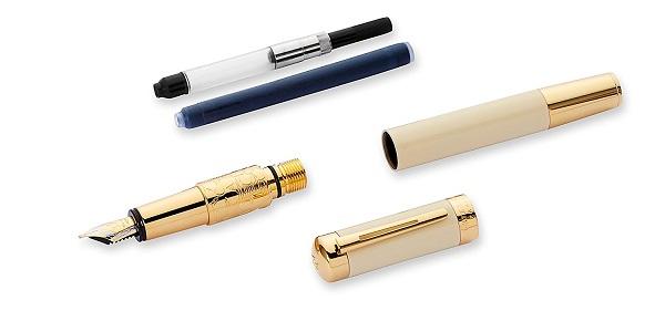 Bộ phận Bút Waterman Elegance Ivory Gold Trim - Ngòi M - Mực đen - S0891330