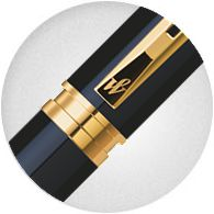 Nắp Bút Waterman Perspective Black Lacquer with Gold Trim - Ngòi F - Mực xanh - S0830800
