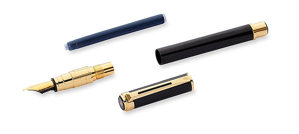 Bộ phận Bút Waterman Perspective Black Lacquer with Gold Trim - Ngòi F - Mực xanh - S0830800