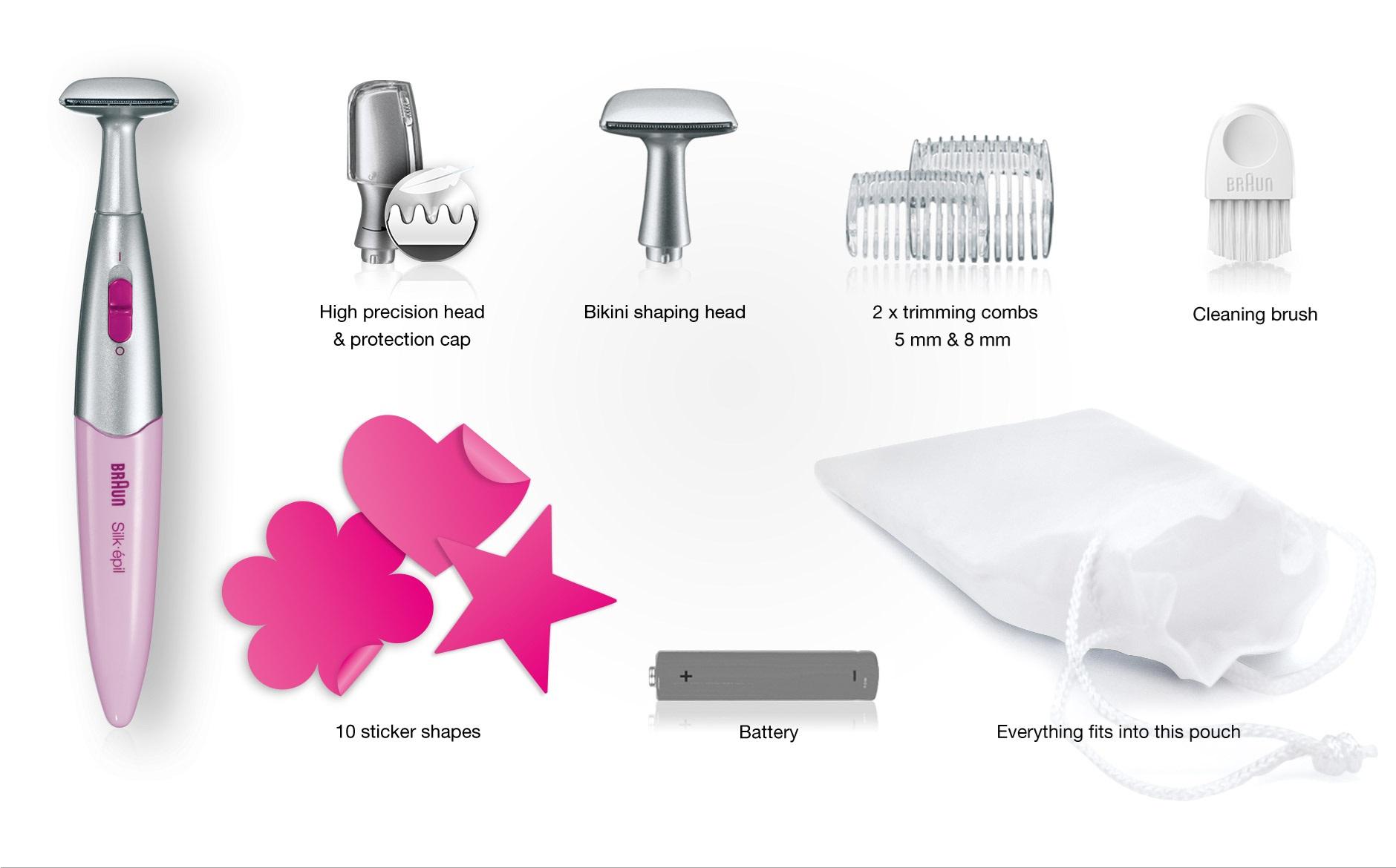 Các công cụ đi kèm trong bộ máy cạo lông vùn kín bikini Braun Silk Epil