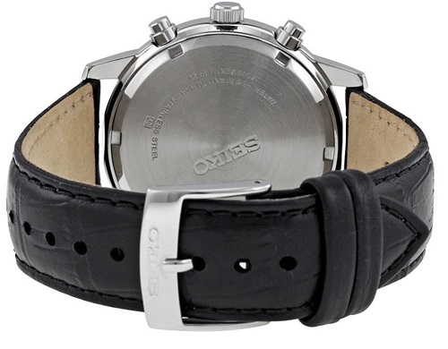 Mặt sau của Đồng hồ Seiko SNDC33 Classic Black Leather