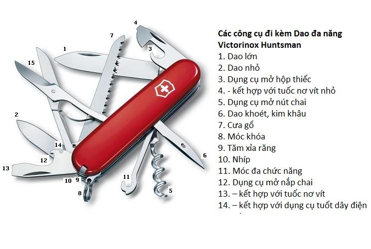 Dao Äa nÄng Thụy SÄ© Victorinox Huntsman Knife 54993