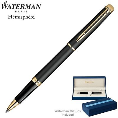 Waterman Hemisphere Rollerball Pen, Matte Black with Gold Trim