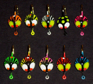 Top Row: Orange, Chartreuse, Pearl/White, Black, Pink   Bottom Row: Green, Red/Chartreuse, Rainbow, Red, Blue