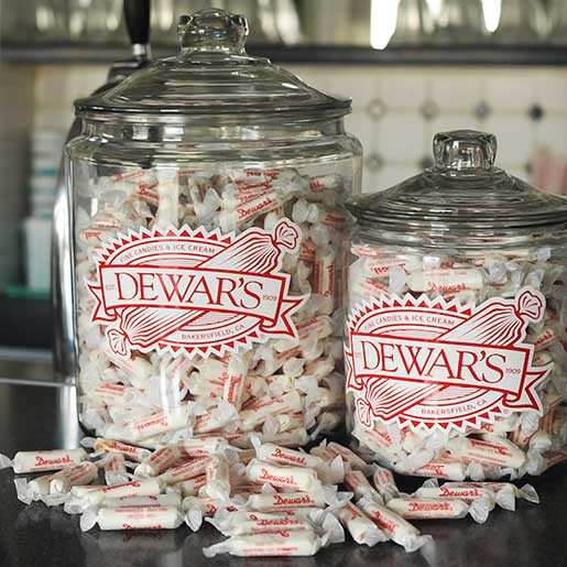 original taffy candy display jar dewars candy shop