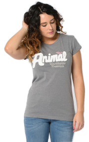 Animal Women's Top Astalla Applique Design in Charcoal Marl.
