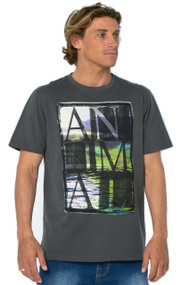 Animal Mens T Shirt Lazey Design in Ashphalt Grey.  Front view.