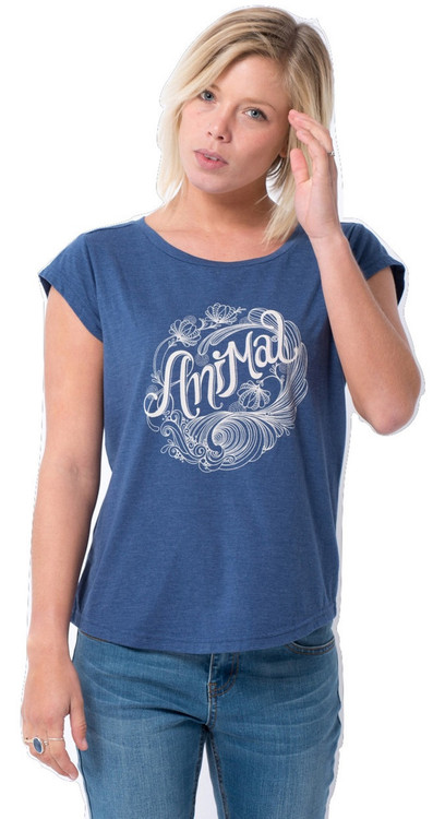Animal Womens T-Shirt Aidley Design in Mid Blue.