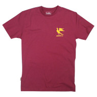 Silverstick Mens T-Shirt Hawks Design in Beaujolais. Front view.