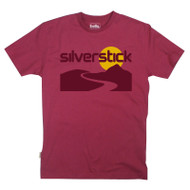 Silverstick Mens T-Shirt River Design in Beaujolais. Front view.