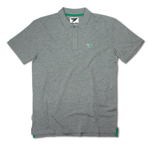 Silverstick Mens Polo Shirt Columbus Design in Ash Marl.